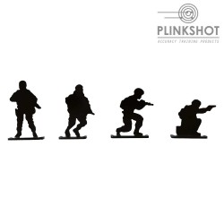 Diana 4 siluetas soldado Plinkshot- espera, corriendo, ofensiva y rodillas