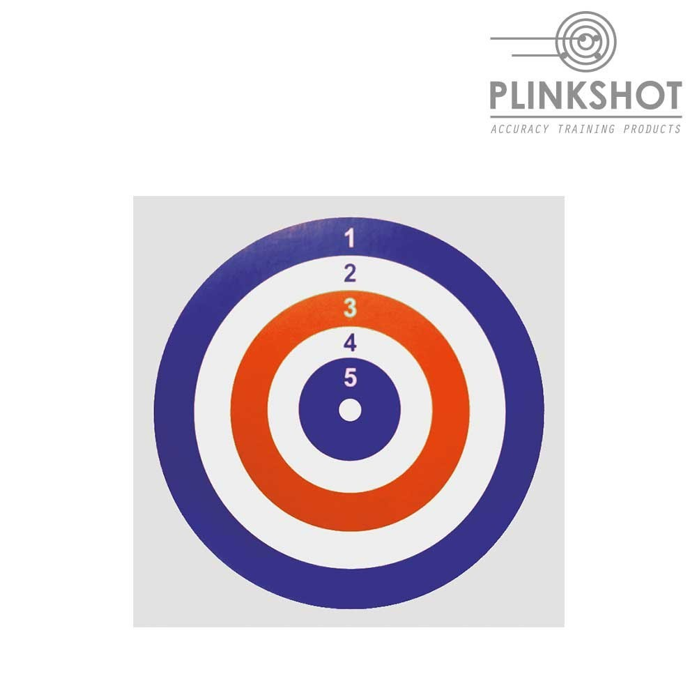 Paquete 100 dianas rojo-azul Plinkshot 14x14cm